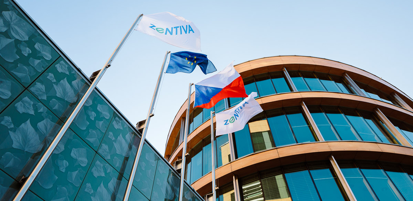 Zentiva logo and building